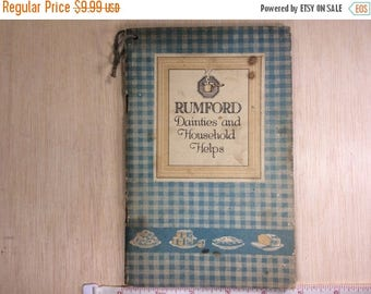 10% OFF 3 day sale Vintage Old Antique Rumford Baking Powder Dainties And Household Helps With Bonus Choice Recipes 1920 Used