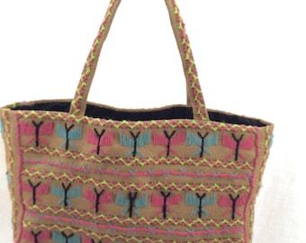 Vintage handmade jute bag tote retro
