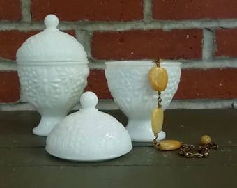CANDY DISH-- Set of Two Vintage Covered White Milk Glass Pedestal Raised Flower Avon Egg Shaped Compote Dish Jewelry Box