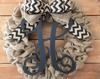 Front Door Wreath | Burlap Wreath | Everyday Wreath | Farmhouse Wreath | Rustic Wreath