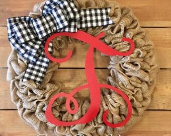 Front Door Wreath | Christmas Burlap Wreath | Buffalo Plaid Wreath | Winter Wreath | Farmhouse Wreath | Rustic Wreath
