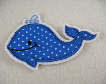 Embroidered application, Whale, 10.5 x 7 cm (1292)