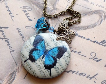 Blue Butterfly Picture Locket, Solid Perfume Locket, Vintage Style Locket, Brass Locket, Butterfly Necklace,Butterfly Pendant, Photo Locket