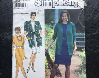 Misses'/Miss Petite Dress and Unlined Jacket Pattern // Simplicity 7101 > Unused > Plus Sizes 16-18-20-22-24 > Easy-To-Sew
