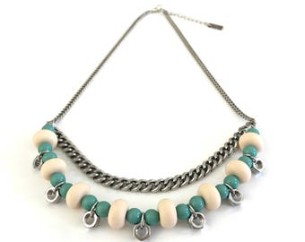 Double layer ivory turquoise silver necklace, industrial necklace, ivory silicone beads necklace, nulika