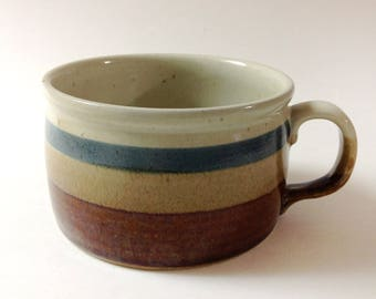 Vintage Otagiri Handled Soup Bowl, Mug, Rust, Tan, Blue Bands, Japanese Stoneware Earth Tones Handled Soup Mug