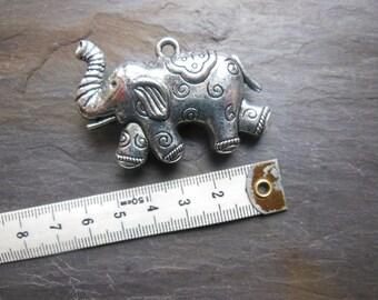Large 3D silver elephant pendant