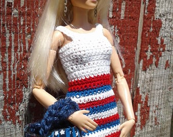 Barbie Patriotic Dress/Hand Crochet