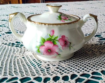 Beautiful old Grindley Cream Petal double handled covered sugar bowl - England