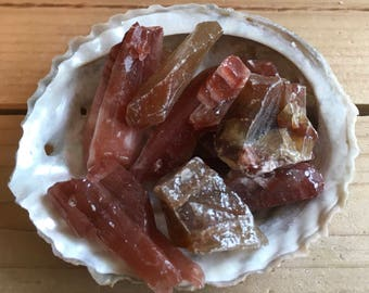 Red Calcite Small Natural Stone, Healing Stone, Healing Crystal, Chakra Stones, Spiritual Stone