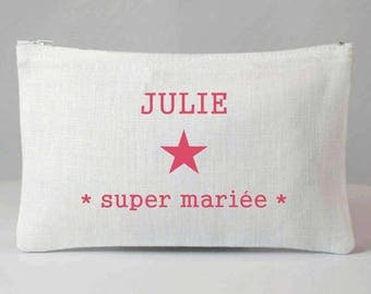 "Custom ""super bride"" pouch"