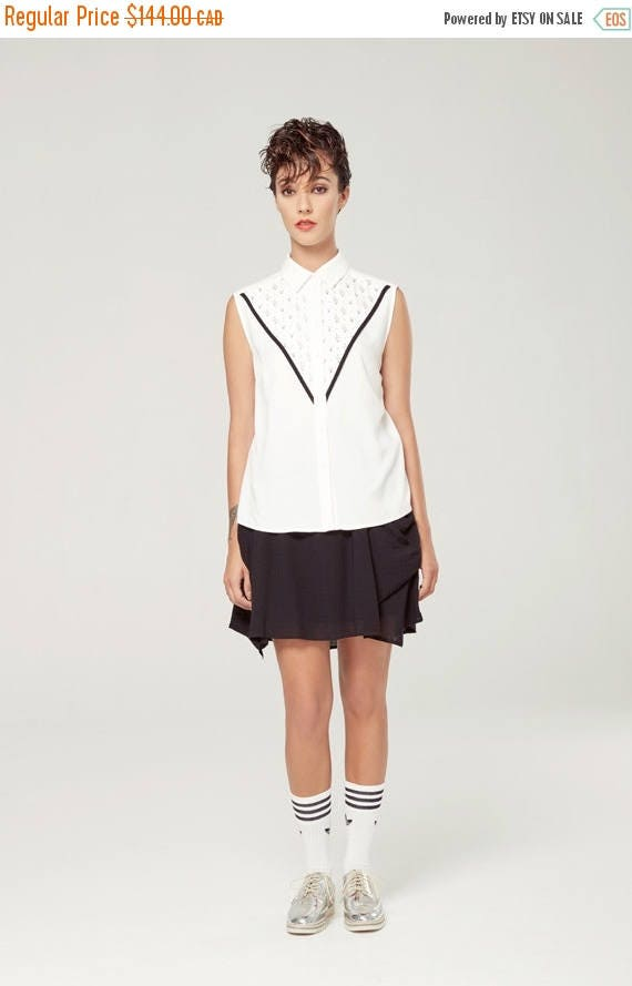 SOLDE GRAND DUC - sleeveless shirt, blouse for women - white with triangles silkscreen