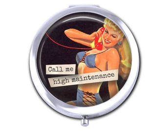 Pin up girl pocket mirror, vintage pin up compact mirror, girlfriend gift for her, call me, phone, funny, snarky, humorous gift.