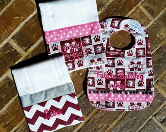 Mississippi State baby burp cloths and bib gift set (Girl or Boy)