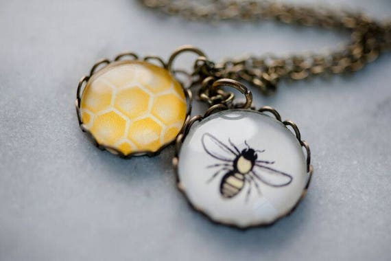 Bee and Honeycomb Necklace - Double Pendant Lace Vintage Bee Jewelry - Free Shipping For The Love Of Bees