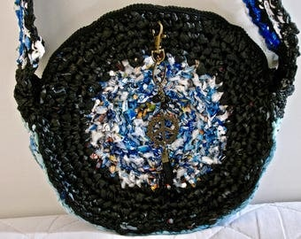 Peace on Earth hand crocheted Recycled plastic shoulder bag,Recycled purse, Recycled Peace bag