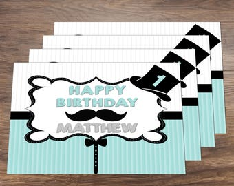 Mustache Little Man First Birthday Party Digital Placemat