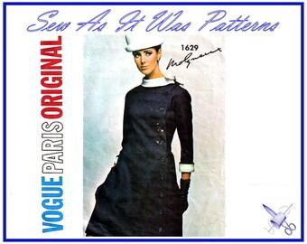 "1960s Vogue Paris Original 1629 Molyneux Princess Seam Coat Dress Asymmetrical Buttons Box Cuffs Vintage Sewing Pattern Size 14 Bust 34"""