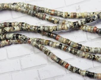 "Silver Leaf Jasper Heishi Beads , 16"" Strand - Item 5087"