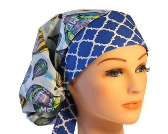 Medical Hat Surgical Scrub Cap Chemo Nurse Chef Vet Hat Fitted Hot Air Balloons Blue 2nd Item Ships FREE