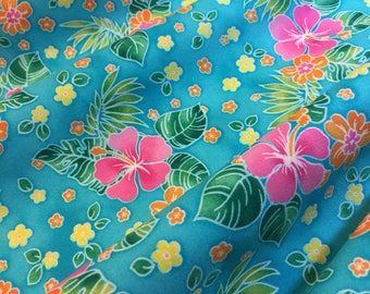 Tropical Island Sanctuary Fabric by Robert Kaufman Pattern D7499- Hibiscus on Aqua 100% Quality Cotton Rare and OOP Yardage