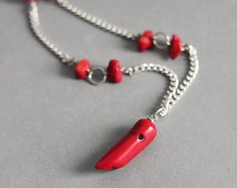 Red Coral Horn Necklace Red Coral Neckace Silver Coral Necklace Horn Necklace Red Gemstone Jewelry Red Coral Jewelry Red Stone Necklace Red