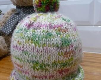 Alpaca & Pure Wool Baby Pom Pom Hat - 1842