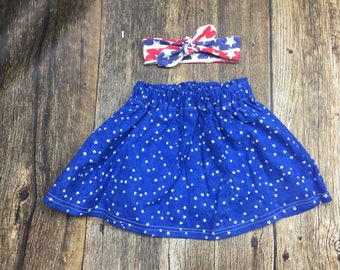 4th of july skirt & top knot; patriotic stars skirt