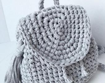 Modern Trendy Crochet Backpack Purse