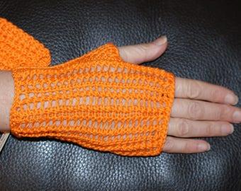 Fingerless gloves women's mid-length, Tangerine Egyptian cotton