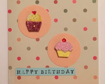 Handmade birthday card cupcakes A6