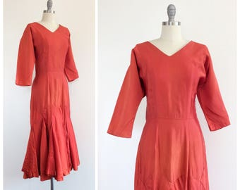 50s Red Dolman Sleeve Cocktail Gown / 1950s Vintage Wiggle Dress With Trumpet Hem / Medium / Size 8
