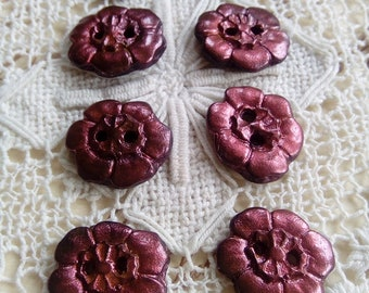 8 polymer clay flower buttons, unique buttons, handmade buttons, knitting buttons, sewing buttons, scrapbooking, craft buttons, red buttons