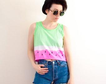 Tie Dye Watermelon Crop Top Sleeveless Vest Summer Festival Hipster Tumblr Pastel Grunge S/M/L/XL