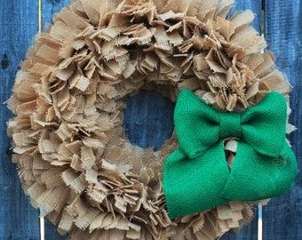 Burlap St Patricks Day Wreath, St Patricks Wreath, St Patricks Day Rag Wreath, Irish Wreath, Spring Wreath, Rustic Green Burlap Wreath