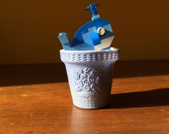 Vintage Blue Milk Glass Planter