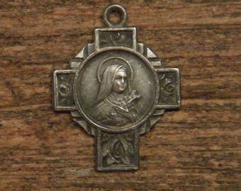 antique French silvered religious cross medal pendant Saint Therese of Lisieux France