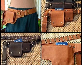 Leather Belt Bag, Utility Belt, Steampunk Festival Belt, Hip Bag, Belt Pouch, Passport / iPhone Pocket Belt, Fanny Pack - The Hipster