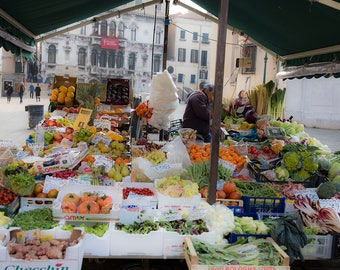 Venice, Italy, Market, Colorful Vegetables, Fruit, Courtyard Market, Open Market in Italy, Food Photography, Italy Photography