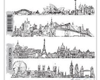 Tim Holtz CITYSCAPES Red Rubber Cling Stamps STAMPERS ANONYMOUS CMS224 cc11