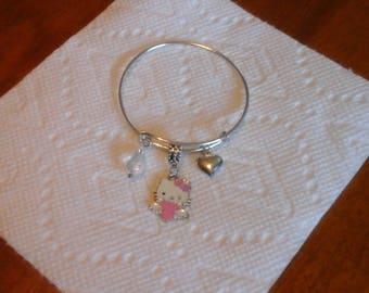 Bangle Adjustable Silver Charm Bracelet