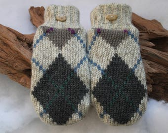 Wool sweater mittens lined with fleece with Lake Superior rock buttons in off-white, gray, blue, green, and purple, coworker gift, Valentine