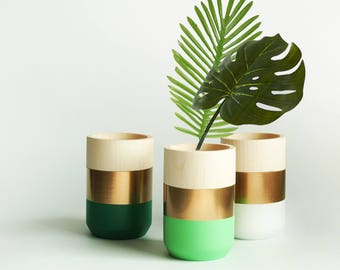 Wooden Vases - Home Decor - Gold metallic - Tropical Leaf Green - Homeware - Set of 3 - Livingroom Accessories