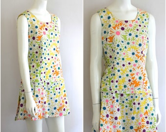 1970s Psychedlic Daisy Romper/ Cotton Skorts/ Biking Outfit/ Playsuit/ Womens Size Medium