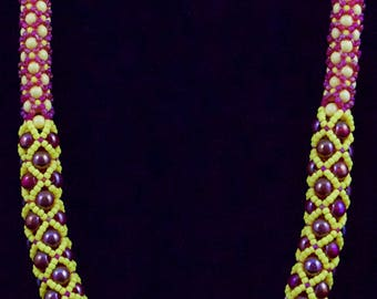 Yellow and Red/Pink Czech Glass Druk Beads in Tubular Netting Necklace