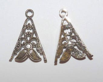 9 pendant filigree openwork triangle silver openwork floral domed for jewelry making charm