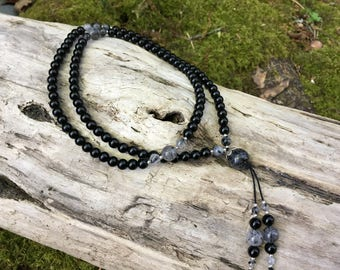 Black Onyx and Tourmalined Quartz Protection Mala by Bicycling Buddha yc71