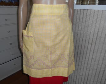 Vintage Apron/Yellow-White Checked Cotton Apron with Purple Cross Stitch Design