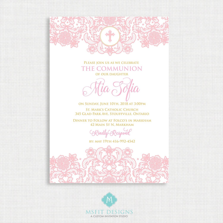 Lace Baptism Invitation- Girls Baptism Invitation - Baby Dedication ...