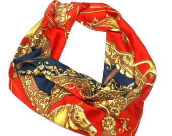 Unique quared scarf, shawl, printed in Horses, Red Navy Gold